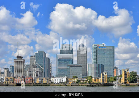Building site construction cranes continue to expand Canary Wharf London Docklands cityscape skyline on the Isle of Dogs Newham East London England UK - Stock Photo