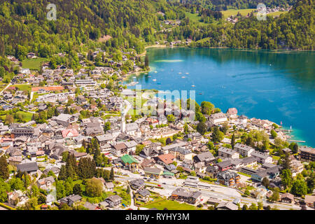 High up view of alpine town St. Gilgen on Wolfgangsee lake on a beautiful sunny day. Salzburger Land, Austria - Stock Photo