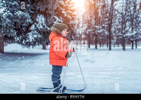 Little boy 3-5 years old, in park in winter walks on children's skis. It is in full growth, first steps in sport, free space for text. Training young - Stock Photo