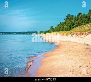 Sandy Beach coastline of Lake Michigan from Whitefish Dunes State Park in Door County Wisconsin. - Stock Photo