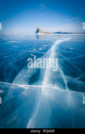 Natural breaking ice in frozen water at Lake Baikal, Siberia, Russia. - Stock Photo
