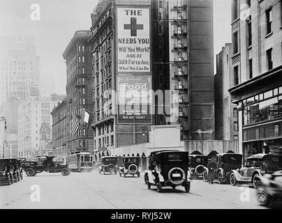 Broadway near Columbus Circle, New York 1917 - Stock Photo