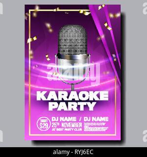 Karaoke Poster Vector  Sing Song  Karaoke Dance Event
