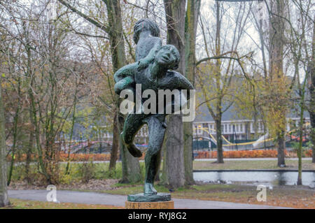 Spelende Kinderen Statue At Amsterdam The Netherlands 2018 - Stock Photo