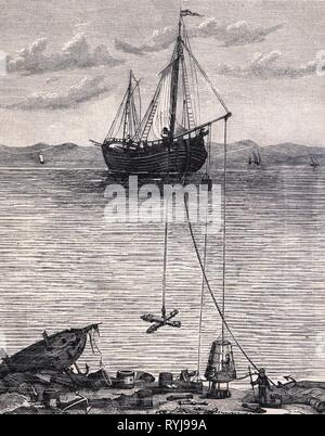 diving, Halley's diving bell, wood engraving, circa 1880, Additional-Rights-Clearance-Info-Not-Available - Stock Photo