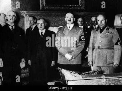 National Socialism, politics, Munich agreement, Neville Chamberlain, Edouard Daladier, Adolf Hitler, Benito Mussolini, Munich, Germany, 29.9.1938, Additional-Rights-Clearance-Info-Not-Available - Stock Photo