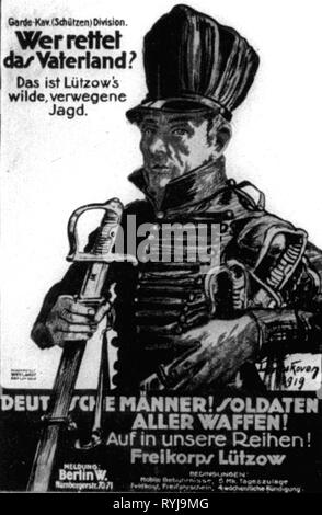 military, Germany, army, Free Corps, recruiting poster for the Freikorps Luetzow, 'Who saves the Fatherland', design: Leo Impekoven, art institute Weylandt, Berlin, 1919, Additional-Rights-Clearance-Info-Not-Available - Stock Photo