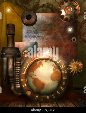 3d illustration graphic background of globe and gears - Stock Photo
