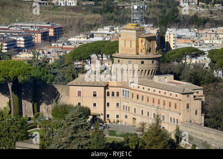 Vatican Radio Building, Aerial Transmitter and Vatican Radio Station within the Grounds or Gardens of the Vatican - Stock Photo