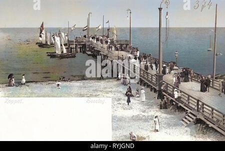 Piers in Poland, Sailboats in Poland, Beaches of Poland, Baltic Sea, 1898, Pomeranian Voivodeship, Zoppot, Seesteg - Stock Photo