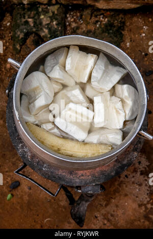 Traditional dish cooking in a village near Agboville, Ivory Coast. Yams mixed with plantain. - Stock Photo