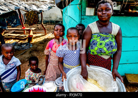 Young villagers near Agboville, Ivory Coast. - Stock Photo
