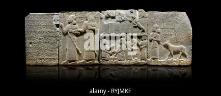Hittite monumental relief sculpted orthostat stone panel of Royal Buttress. Basalt, Karkamıs, (Kargamıs), Carchemish (Karkemish), 900-700 B.C. Anatoli - Stock Photo