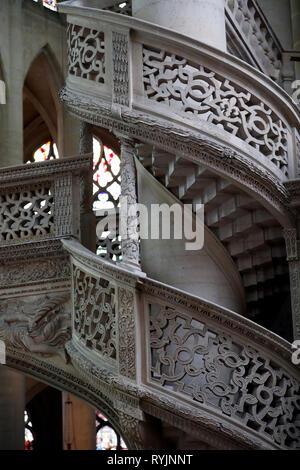 Saint Etienne du Mont church. Detail of the rood screen.  Paris. France. - Stock Photo