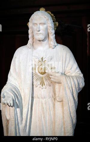 Saint Etienne du Mont church.   The Sacred Heart of Jesus. Statue.  Paris. France. - Stock Photo