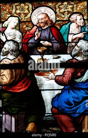 Saint Etienne du Mont church.  Stained glass window.  Paris. France. - Stock Photo