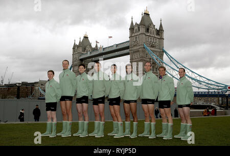 (left to right) Matthew Holland, Natan Wegrzycki-Szymczyk, Freddie Davidson, Sam Hookway, Callum Sullivan, Dara Alizadeh, Grant Bitler, James Cracknell and Dave Bell during the Boat Race crew announcement and weigh in at City Hall, London. - Stock Photo