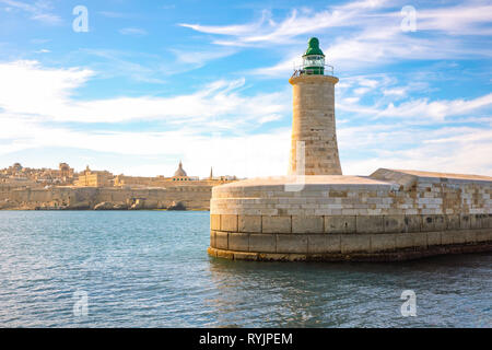 Malta, Valletta, view from the sea of the lighthouse of the St Elmo fort - Stock Photo