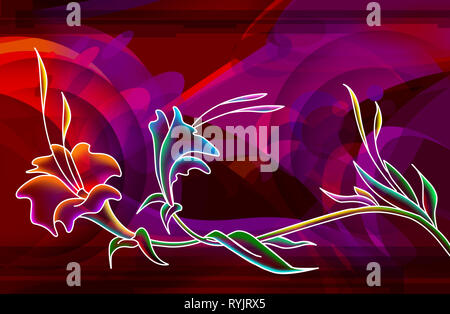 3d illustration graphic background of floral designs with shades of pink and red - Stock Photo