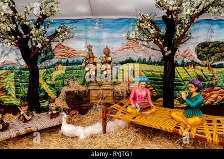 Janmashtami festival at Bhaktivedanta Manor, Watford, U.K. Statues in the guests' tent.
