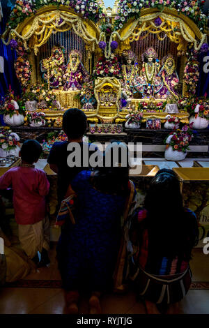 Darshan in the temple of Bhaktivedanta manor during Janmashtami hindu festival, Watford, U.K.
