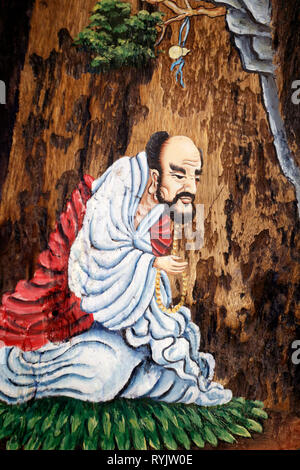 Bodhidharma (5th - 6th century ) was a Indian Buddhist monk, and is traditionally credited as the transmitter of Zen. Can Tho. Vietnam. - Stock Photo