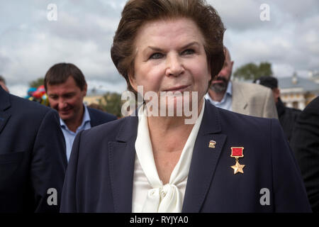 Soviet cosmonaut, Deputy of the state Duma of the party 'United Russia' Valentina Tereshkova meets with voters in Kostroma town, Russia - Stock Photo
