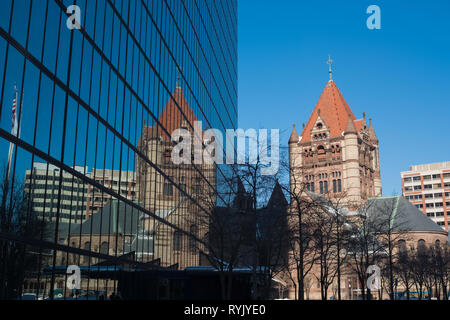Trinity Church in the City of Boston and its reflection in the John Hancock Tower, Clarendon Street, Boston, Massachusetts - Stock Photo