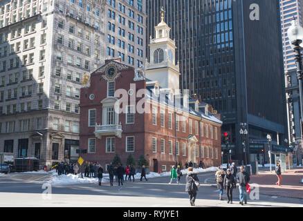 The Old State House, 206 Washington Street, Boston, Massachusetts - Stock Photo