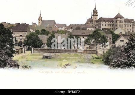 Schloss Hartenfels, Torgau, Leiterwagen, Churches in Torgau, 1901, Landkreis Nordsachsen, Schloß Hartenfels von Bastion I gesehen, Germany - Stock Photo