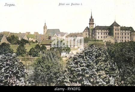Schloss Hartenfels, Torgau, Churches in Torgau, 1901, Landkreis Nordsachsen, von Bastion I gesehen, Germany - Stock Photo