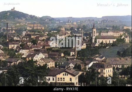 Buildings in Varnsdorf, Churches in Varnsdorf, Observation towers in Ústí nad Labem Region, 1913, Ústí nad Labem Region, Warnsdorf, Warnsdorf und die Burgbergwarte, Czech Republic - Stock Photo