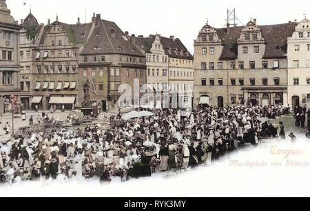 Markets in Saxony, Water wells in Saxony, Market squares in Landkreis Nordsachsen, Markt (Torgau), 1901, Landkreis Nordsachsen, Torgau, Marktplatz, Germany - Stock Photo