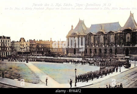 Frederick Augustus III of Saxony, 2. Königlich Sächsisches Jäger-Bataillon Nr. 13, Palais des Beaux-Arts de Lille, Military parades in France, 1914, Nord, 1914 in Lille, Lille, 2. Königlich Sächsisches Jäger, Bataillon Nr. 13, Parade in Lille Dezember 1914, Germany - Stock Photo
