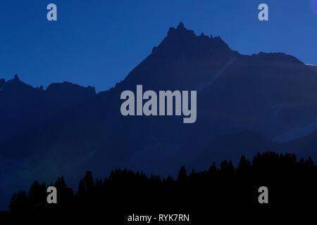 Chamonix Valley, French Alps. The Mont Blanc massif. Aiguille du Midi 3842 m.   France. - Stock Photo