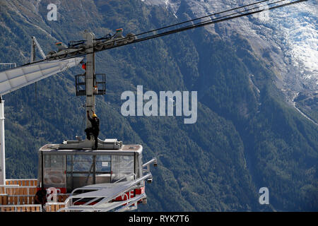 Mecanic review on Brevent cable car. Chamonix Valley, French Alps.  France. - Stock Photo