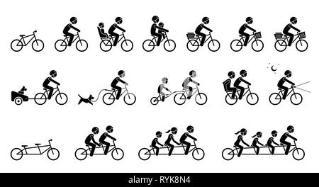 Bicycle accessories and equipments. Pictograms depicts type of bicycle attachments, seats, gears, and parts for adult, child, pet dog, and family. Tan - Stock Photo