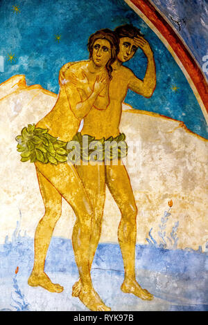 Detail of a fresco in the Greek orthodox church of the Annunciation, Nazareth, Israel. Adam and Eve expelled from paradise. - Stock Photo