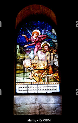 Saint Joseph's church, Nazareth, Galilee, Israel. Stained glass in the grotto depicting St Joseph's dream. - Stock Photo