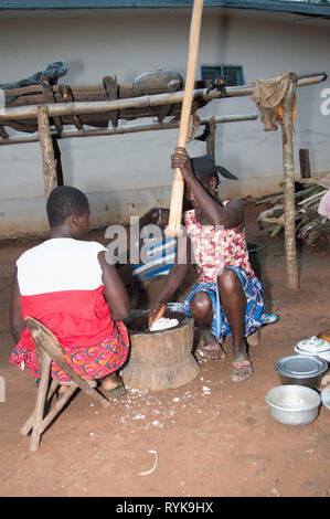 Anekro, ivory coast-August 20, 2015: an old woman pounding food preferred by many people in ivory coast - Stock Photo