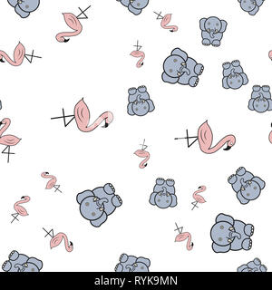Seamless pattern from flamingos and elephants in in cartoon style. On white background,  illustration. - Stock Photo