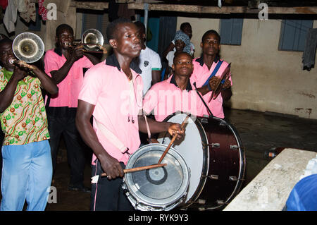 Anekro, ivory coast-August 20, 2015: a group of instrumentalists musicians perform at the home of the king of the region - Stock Photo