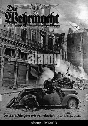 events, Second World War / WWII, France 1940, Battle of France, a car wreck and an abandoned French tank Renault FT-17 in a burning town, front page of the magazine 'Die Wehrmacht', Vol. 4, No. 14, 3.7.1940, Additional-Rights-Clearance-Info-Not-Available - Stock Photo