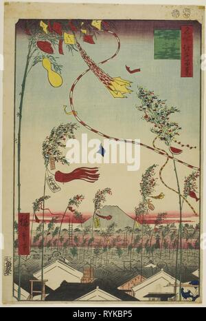 The City Flourishing, Tanabata Festival (Shichu han'ei Tanabata Matsuri), from the series 'One Hundred Famous Views of Edo (Meisho Edo hyakkei)'. Utagawa Hiroshige ?? ??; Japanese, 1797-1858. Date: 1857. Dimensions: 33.8 x 22.4 cm (13 5/16 x 8 13/16 in.). Color woodblock print; oban. Origin: Japan. Museum: The Chicago Art Institute, Chicago, USA. - Stock Photo