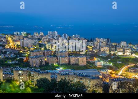 skyline of tiberias at shore of galilee, israel - Stock Photo