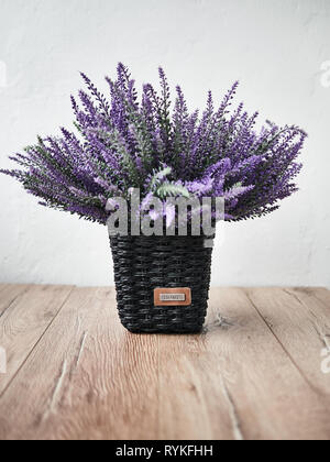 Bunch of lavander on wooden background. Summer concept - Stock Photo