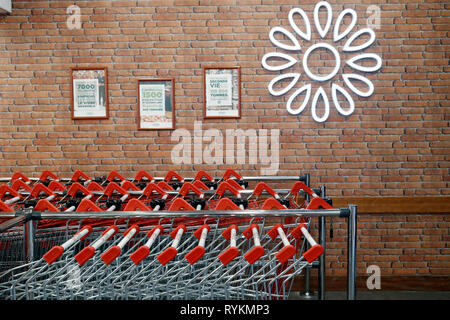 Supermarket Casino. Shopping carts in row.   France. - Stock Photo