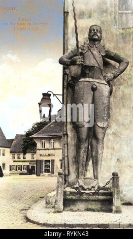 Town halls in Landkreis Nordsachsen, Roland statue of Belgern, Buildings in Belgern, 1912, Landkreis Nordsachsen, Belgern, Der Roland am Rathaus, Germany - Stock Photo