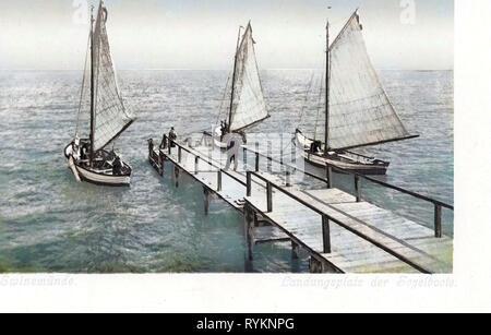 Piers in Poland, Sailboats in Poland, Old, Świnoujście, 1900, West Pomeranian Voivodeship, Swinemünde, Landungsplatz - Stock Photo