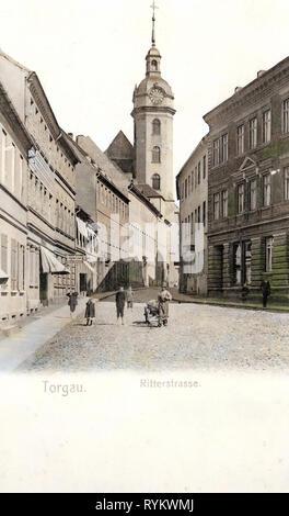 Churches in Torgau, 1901, Landkreis Nordsachsen, Torgau, Ritterstraße, Germany - Stock Photo